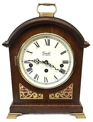 Antique Style COMITTI LONDON Mahogany Bracket Mantel Clock WESTMINSTER CHIMES 2