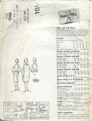 1963 VINTAGE VOGUE Nähen Muster B32 Anzug Jacke Rock & Bluse (1521r ...