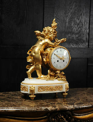 Superb Antique French Ormolu And White Marble Clock - Cupid 2
