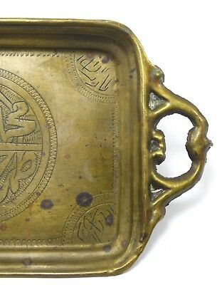 Antique Rare Islamic Brass handcrafted Beautiful Calligraphy Tray. G3-8 US 6