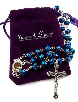 Deep Blue Crystal Beads Rosary Catholic Necklace Holy Soil Medal Cross Crucifix 2