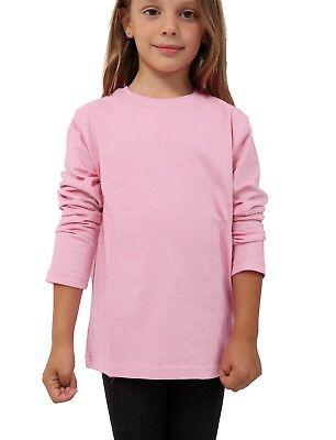 Kids Plain Top Girls Boys Long Sleeve Tee T Shirt Fit Pe Tops Vest Crew Neck 2
