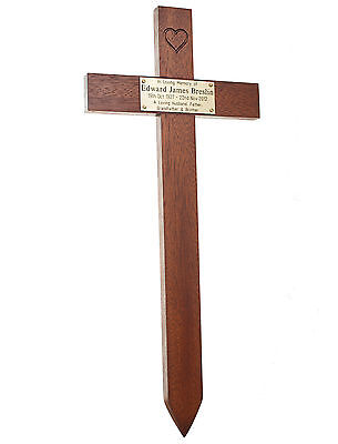 "17"" Tall Oak Carved Heart Wooden Memorial Cross Engraved Plaque Grave Marker pet 4"