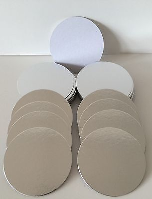 """3/"""" ROUND THIN CUT EDGE SILVER cake boards cards sugarcraft christmas tray"""