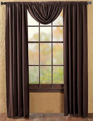 "84"" Long Burlap Chocolate Brown Cotton Rustic Country Window Curtains Tie Backs 7"