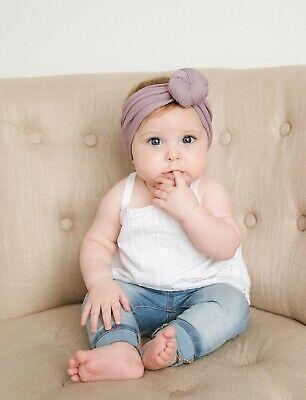 Baby Girls Bow Bun Turban Headband Hair band Head Wrap Cute Kids Plain Stretch 7