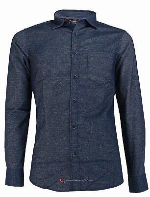 Camicia in flanella uomo manica lunga Slim Fit taschino blu nero tg S M L XL XXL 5