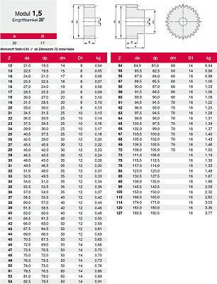 Stirnrad-Zahnrad Acier C45 Module 1.5, 12-70 Dents 1 Pièce - Qualité 8-9 2