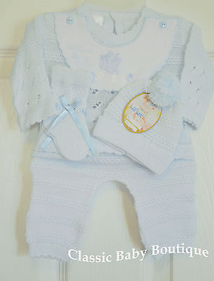 NWT Will/'beth Blue Knit 4pc Diaper Set Preemie Baby Girls Boys Hat Booties 00