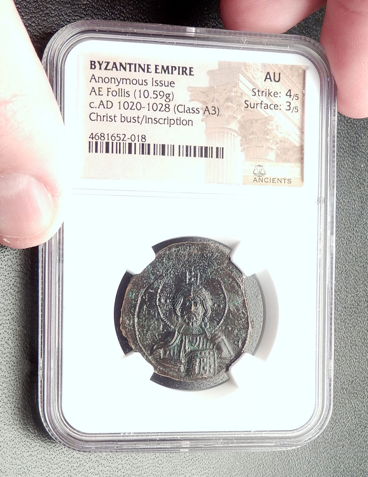 JESUS CHRIST Class A3 Anonymous Ancient 1020AD Byzantine Follis Coin NGC i72355 3