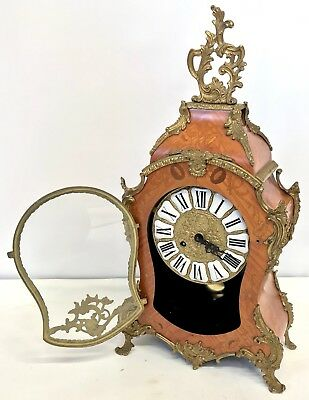 Franz Hermle Inlaid Walnut TING TANG Mantel Bracket Clock Antique Louis XV Style 7