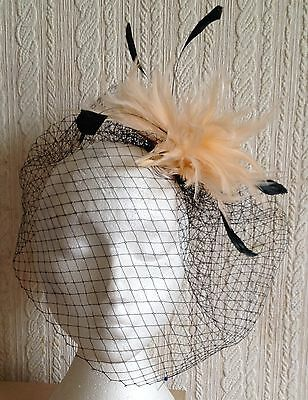 nude feather black veiling fascinator millinery hair clip ascot wedding bridal 2