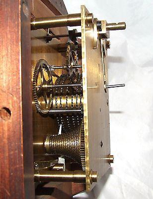 # Antique  rare 8 inch Dial CHAIN Fusee Mahogany Wall School Clock c1900 11