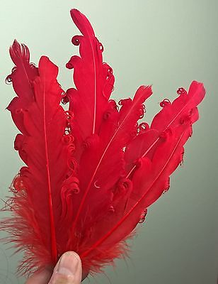 red feather fascinator millinery hair clip wedding piece ascot race dance 2