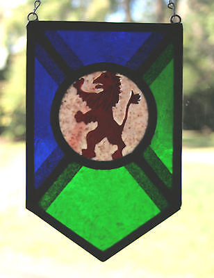 Stained Glass,Hand Painted,Kiln Fired, Lion Rampant Panel, 1300 B 3