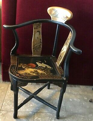 Vintage Chinese Black Lacquer Corner Chair Decorative 6