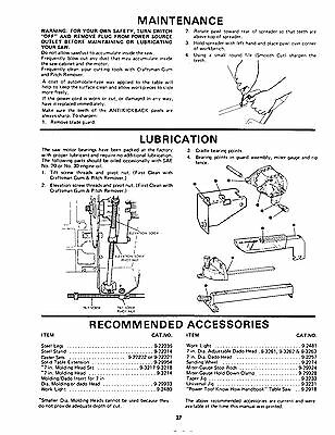 SEARS CRAFTSMAN 113 242700, 113 242720 9 Inch Table Saw Op & Parts Manual  #1506