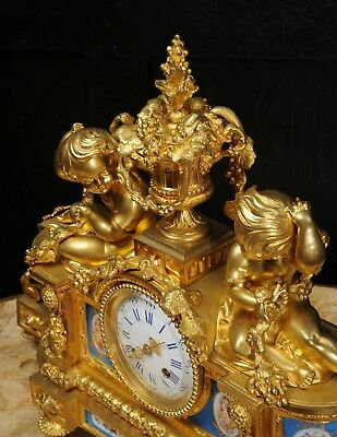 Large Antique French Ormolu And Sevres Porcelain Clock Cherubs Stunning 1850 8
