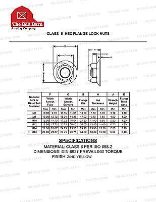 (100) M8-1 25 HEX Flange Lock Nuts Grade 8 Stover Grade 8 8 Zinc Yellow