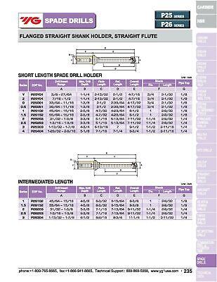 """3"""" Shank, Straight Flute Short Length YG1 Spade Drill Holder 12"""