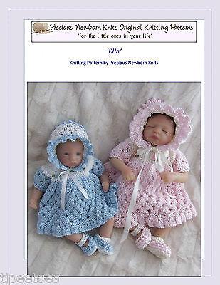 "Dolls Knitting Pattern TO KNIT 8 & 10"" Clothes 'Ella' Set, Dress, Bonnet, Shoes"