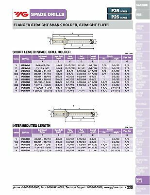 """1-1/2"""" Flanged Shank, Straight Flute Short Length YG1 Spade Drill Holder 12"""
