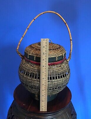Antique Vintage Asian Hand Woven Basket w/ Handle & Lid - Chinese Japanese 6