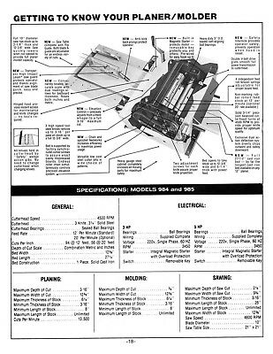 "Foley Belsaw 12/"" Model 984//985 Planer//Molder w//Saw Attachment Manual   *814"