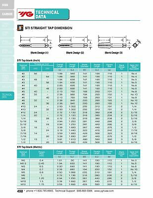 6pcs 1/4-20 H2 3 Straight Flutes Screw Thread Insert Plug Tap HSS Bright YG1 7