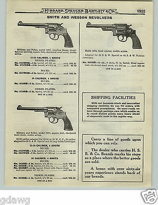 1919 PAPER AD 3 PG Smith & Wesson Revolvers Police Model Military Model 1911