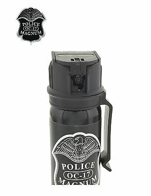 POLICE MAGNUM Pepper Spray 4 oz Ounce Safety Flip Top Belt Clip FREE 1/2oz Spray 7