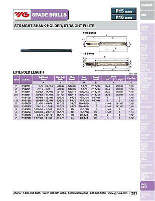 "2"" Shank, Straight Flute Extended Length YG1 Spade Drill Holder 8"