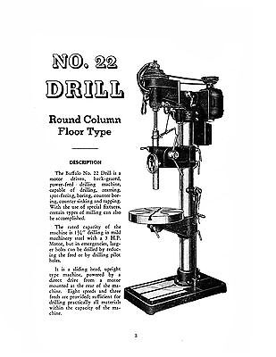 Buffalo Forge No 22 Drill Press Maintenance And Parts List Manual