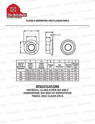 (15) M10-1 5 METRIC Serrated Hex Flange Nuts Class 8 DIN 6923