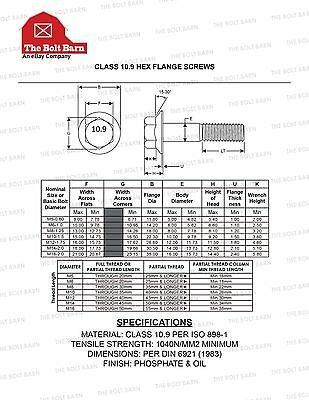 50 PCS M10-1.5x40 MM Metric Hex Flange Bolts Grade 10.9 Screws Phos /& Oil