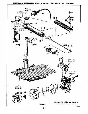 sears craftsman accra arm 10 inch radial saw 113 29003 op parts rh picclick com sears craftsman radial arm saw manuals free sears craftsman radial arm saw manuals free