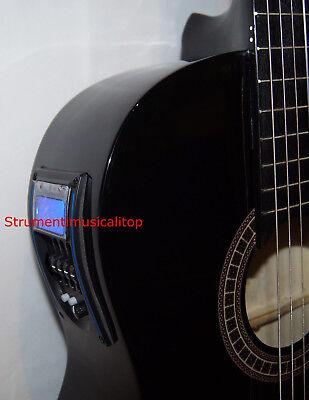 Chitarra Classica Nera 4/4 Amplificata Elettro-acustica Pre 4b+Accordatore Borsa