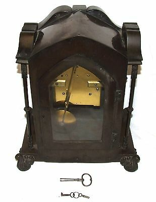 Antique Gothic BRONZE Twin Double Fusee Bracket Mantel Clock CLEANED & SERVICED 11
