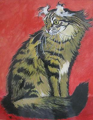 "C305   Original Acrylic Painting By Ljh  ""Bosco""  Cat Kitten 8"