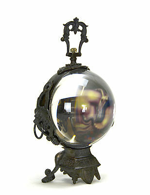 Swiss Style Crystal Glass Sphere Ball Brass Stand Table Clock with Lady Painting 3