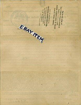 1919 CHECK PROMISSORY Note FEDERAL RESERVE BANK of DALLAS Bogata Texas H C   DODD