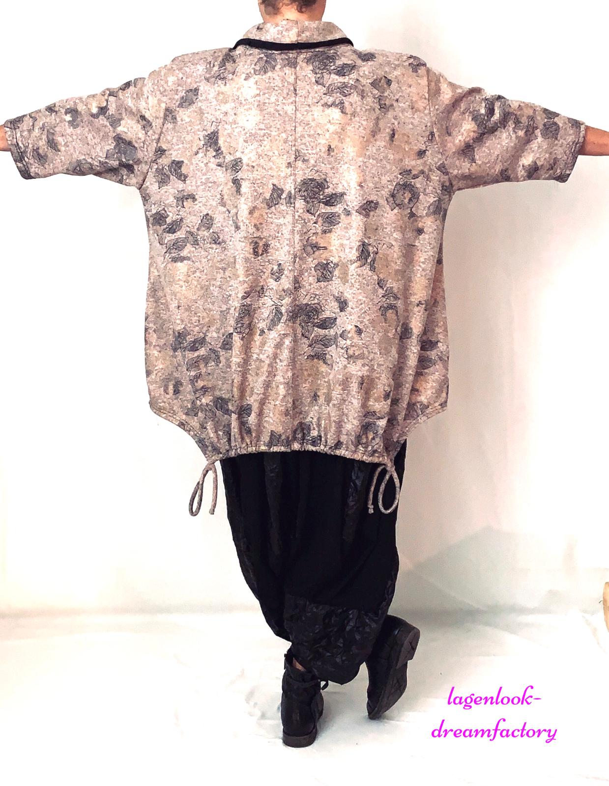 Lagenlook OVERSIZE Zipfel-Big-Shirt Streifen Materialmix 44 46 48 50 52 56