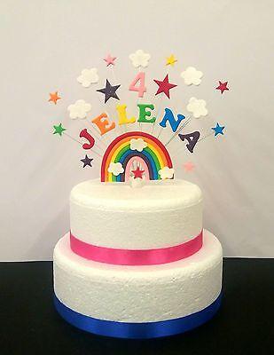 Rainbow Unicorn Birthday Cake Topper Personalised Name And Age Decoration 3