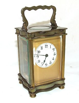 Antique French Bronzed Finish Brass Carriage Clock with Key : Working Order (31) 3
