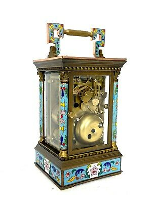 French Style Floral Turquoise Enamel Brass Case 8 Day Repeater Carriage Clock 4