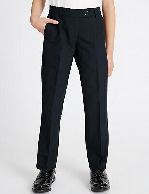 NEW GIRLS EX M & S NAVY BLUE SLIM FIT SCHOOL TROUSERS Age 2-16+ years GNT1 3