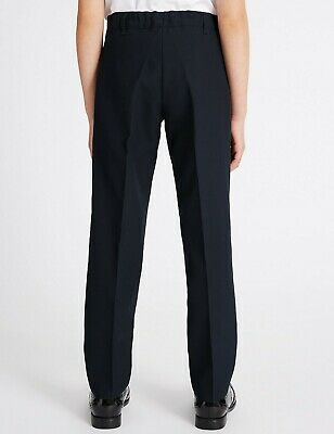 NEW GIRLS EX M & S NAVY BLUE SLIM FIT SCHOOL TROUSERS Age 2-16+ years GNT1 2