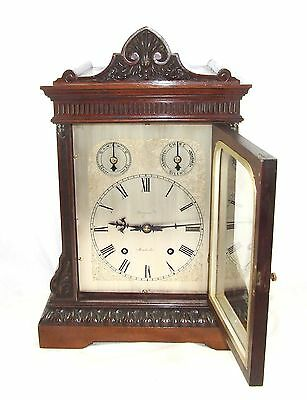 Winterhalder W & H Antique Mahogany TING TANG Bracket Mantel Clock CLEAN SERVICE 4