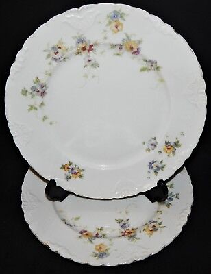 2 Herman Ohmne Silesia Germany China Dinner Plates Floral Pattern 140? Gold Trim 2