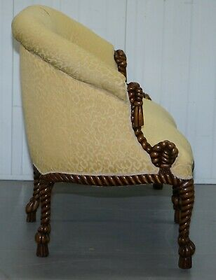 Rope Twist Napoleon Iii Style Suite Seating Armchair & Settee Chesterfield Sofa 6